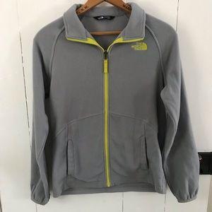 •North Face Boy's L grey + yellow zip up fleece•